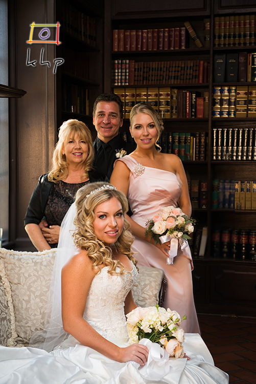 The bride and her family at the library of the Villa, before the ceremony.