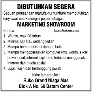 Lowongan Kerja Marketing Grand Niaga Mas Maret 2017