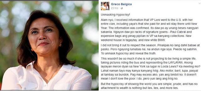 LOOK: Greco Belgica Unmasks VP Leni Robredo's Hypocrisy & Lavish Lifestyles