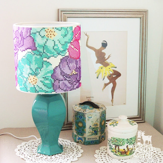 Cross stitch rose design lampshade luxury home decor