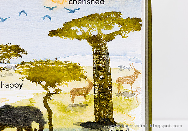 Layers of ink - Wildlife Birthday Card by Anna-Karin Evaldsson with Darkroom Door African Trees stamps