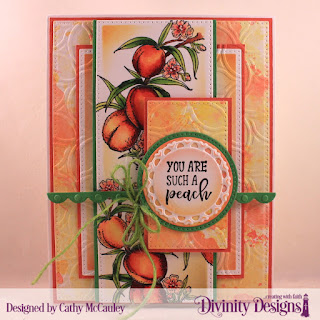 Divinity Designs Stamp Set: Peach Branch, Mixed Media Stencil: Petals, Custom Dies: Pierced Rectangles, Pierced Circles, Circles, Fancy Circles, Bitty Borders