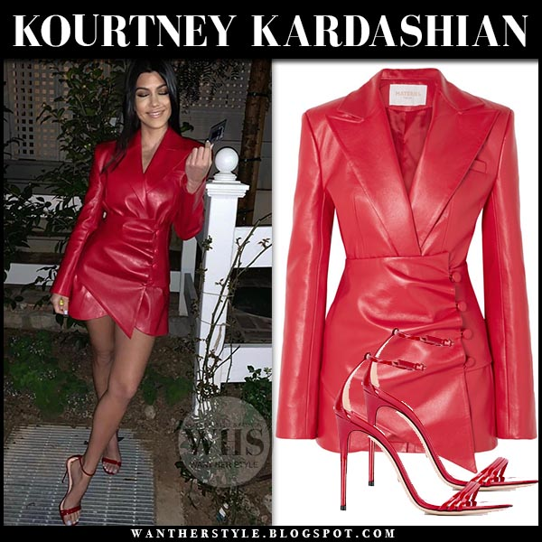 db3e7da71ceb Kourtney Kardashian in red faux leather blazer dress and red sandals.  Celebrity night out outfit
