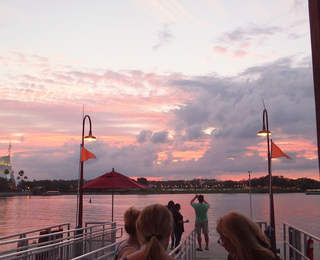 Disney Springs boat ride sunset
