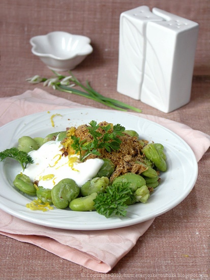 marokańska sałatka z młodego bobu