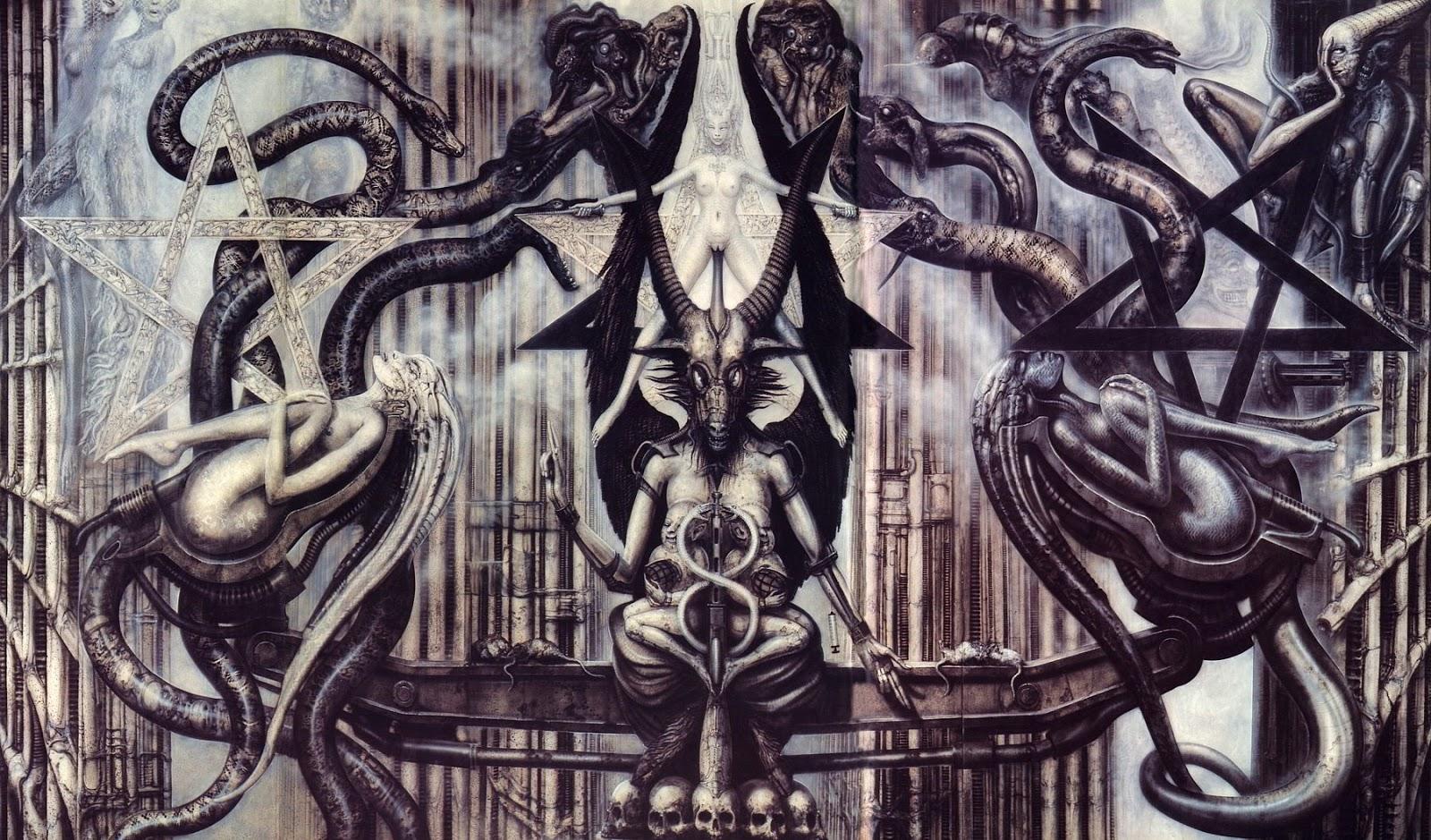 Baphomet de H. R. Giger Pentagrama Invertido Bode Maçonaria Significado do bode da maçonaria