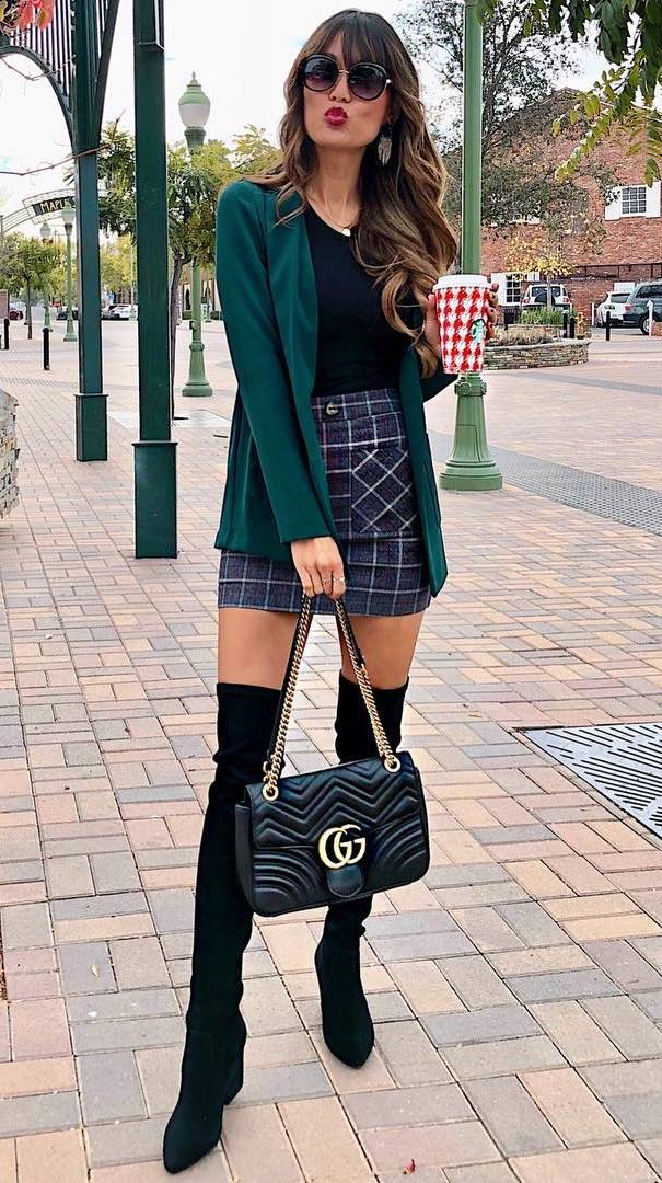 how to style a green blazer : bag + plaid skirt + over knee boots + black top