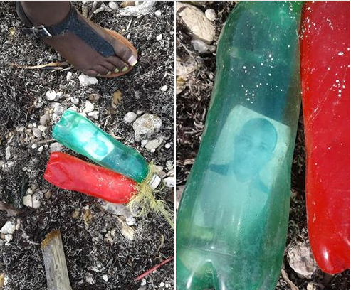 Voodoo? Passport Photograph of a man trapped inside a plastic bottle washes out from a beach in Jamaica (Photos)