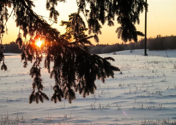 aurinko nousee maaliskuu etelä-suomi maaseutu