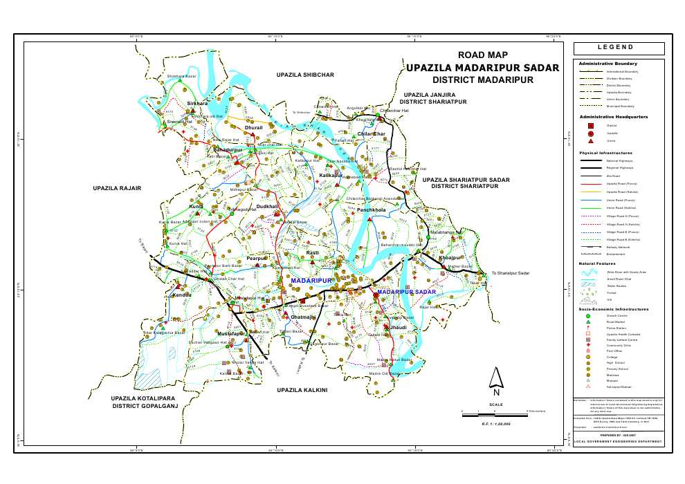 Madaripur Sadar Upazila Road Map Madaripur District Bangladesh