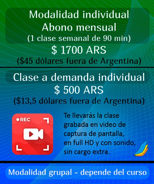 Precios, Clases en pesos y dolares