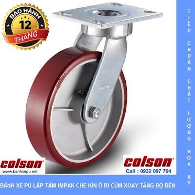 Bánh xe Colson 8 inch PU chịu lực 680kg càng Impak xoay | 6-8279-939 banhxedayhang.net