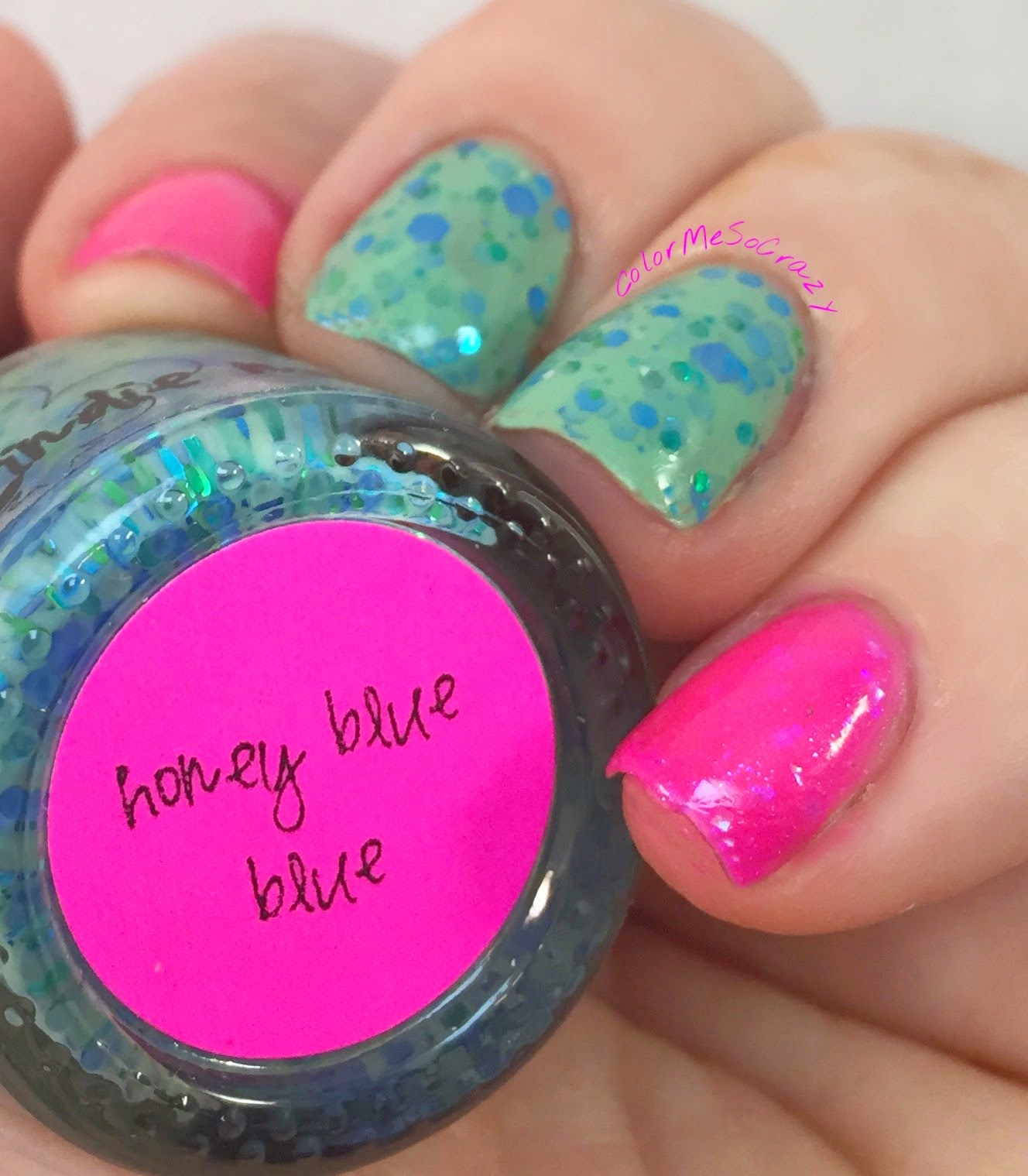 jindie nails, Honey Blue Blue, Hot Pink Floyd, alpha mani