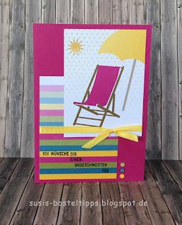 """Stampin' Up! Karte mit dem Kartenset Erinnerungen und mehr """"Farbenspiel"""", Thinlits """"aus jeder Jahreszeit"""" und stempelset """"jahr voller Farben"""" Liegestuhl sonnenschirm"""