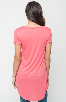 Buy Now Berry Round Neck Tunic Tees Online $16 -@caralase.com