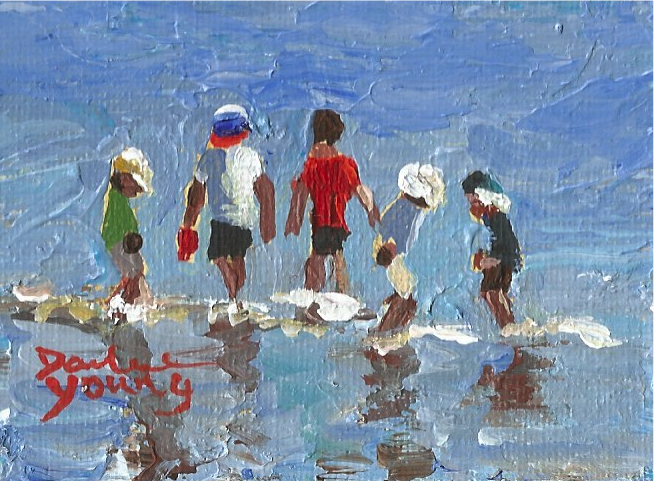 941 Beach Kids Miniature Knife Painting 25x35 Oil On Board