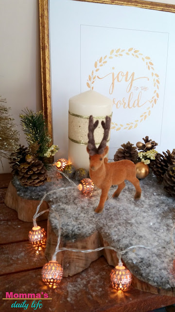 slice of wood centerpiece, xmas centerpiece, deer