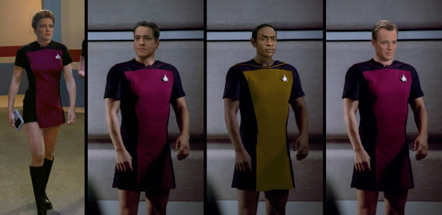 Voyager crew wearing TNG skant uniforms