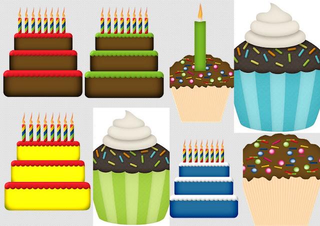 Tartas, Pasteles y Cupcakes del Clipart Fiesta de Cumpleaños.
