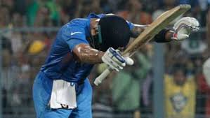 Match winner Virat Kohli paid homage to Sachin Tendulkar with a bow during the World cup T20 match against Pakistan at Eden Garedns on Saturday night.  After reaching 50, a knock which assured victory for India, Virat Kohli bowed and pointed his bat towards Sachin Tendulkar in the special VIP box.