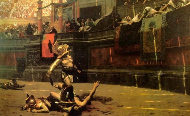 seorang gladiator gallus berhasil memenangkan pertandingan