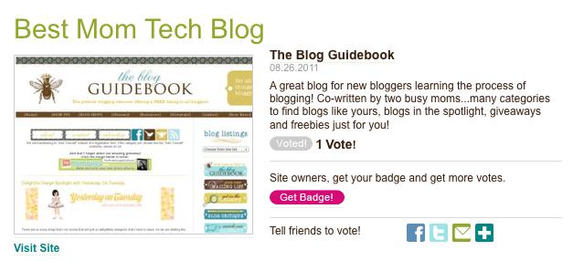 Blog Guidebook: 2011 Parents Best Mom Tech Blog Nominee