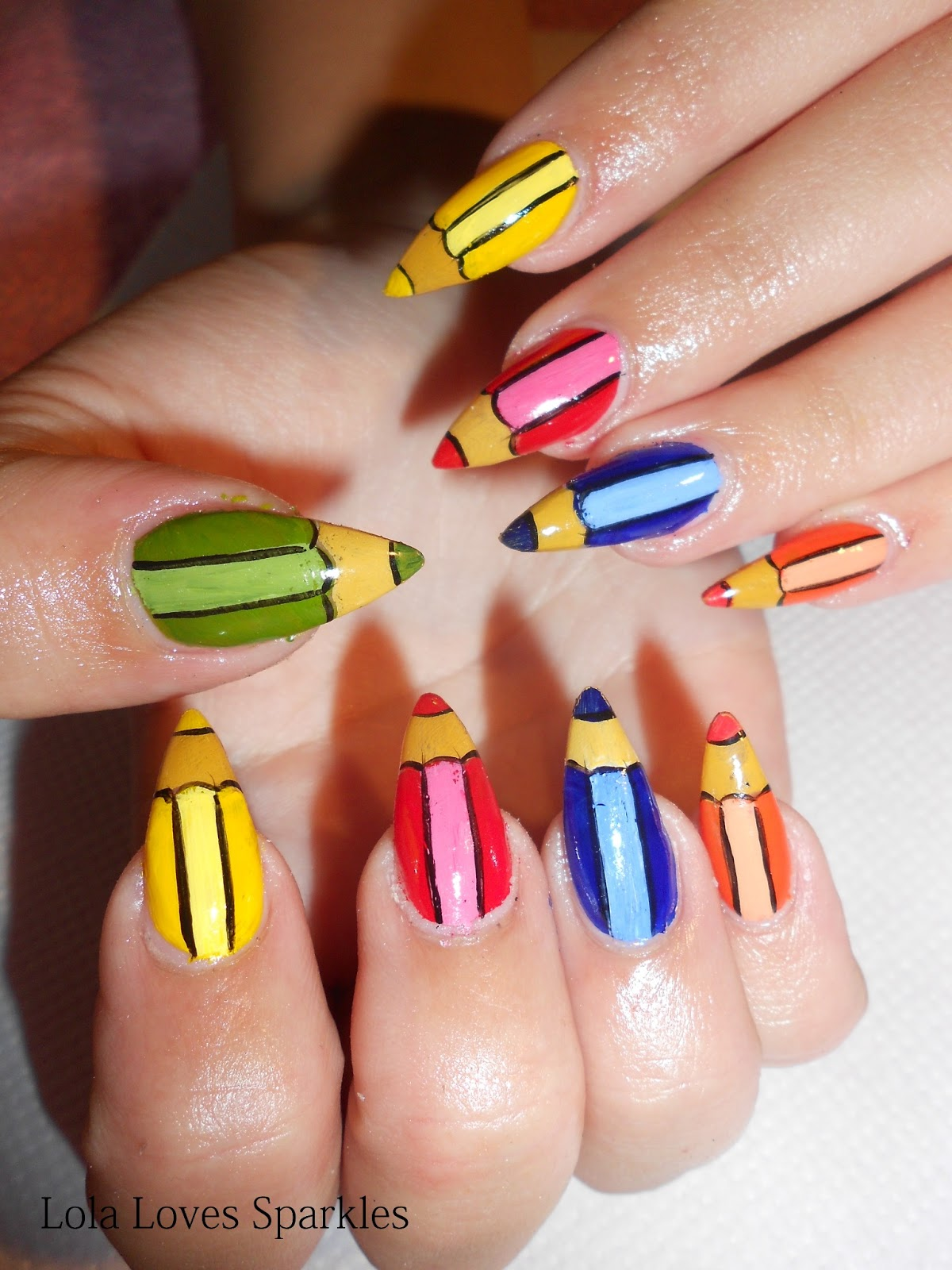 Lola Loves Sparkles: Cute Coloured Pencils Nail Design ...