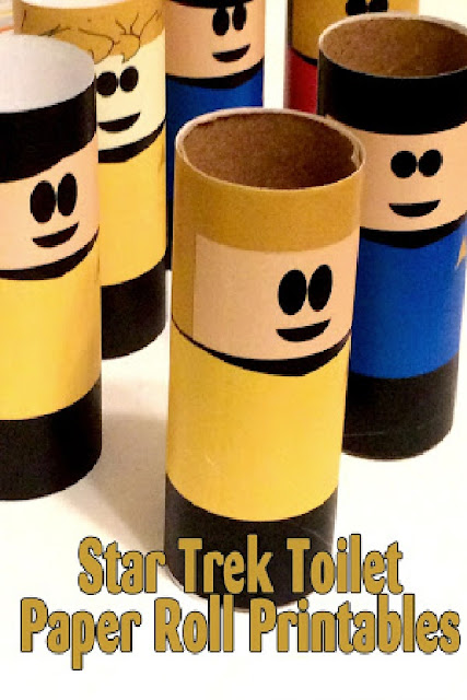 Boldly Go where no one has gone before with these fun printable toilet paper roll characters.  This set features your favorite Star Trek bridge crew so you'll be exploring the universe in no time at all. #startrek #toiletpapercraft #diypartymomblog