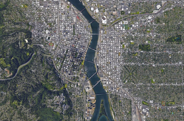 satellite view of portland downtown
