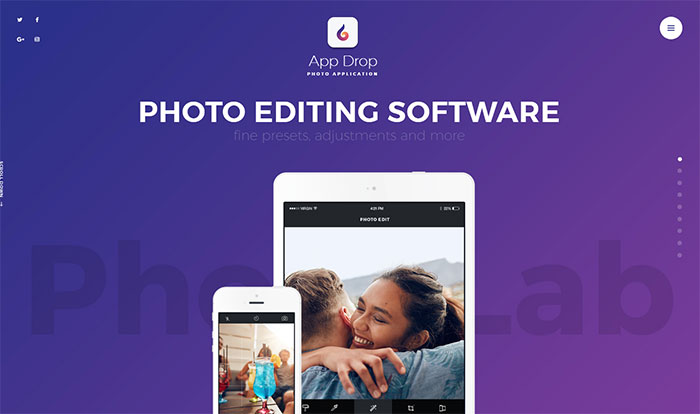 AppDrop - Photo Editing Application WordPress Theme