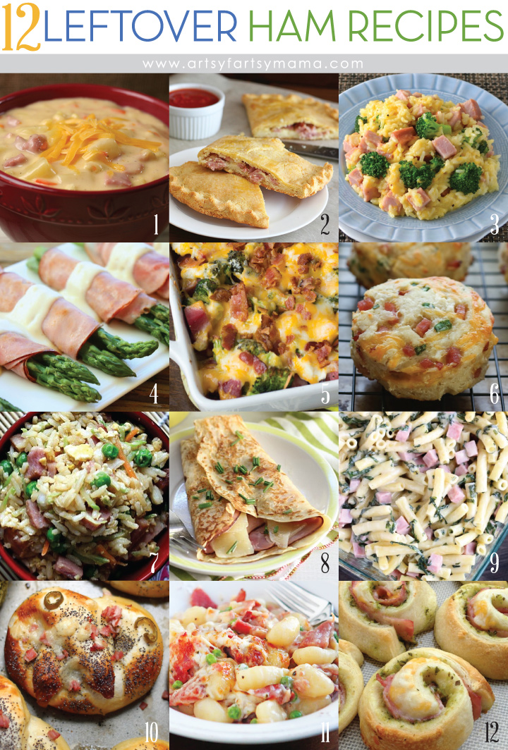 12 Leftover Ham Recipes at artsyfartsymama.com