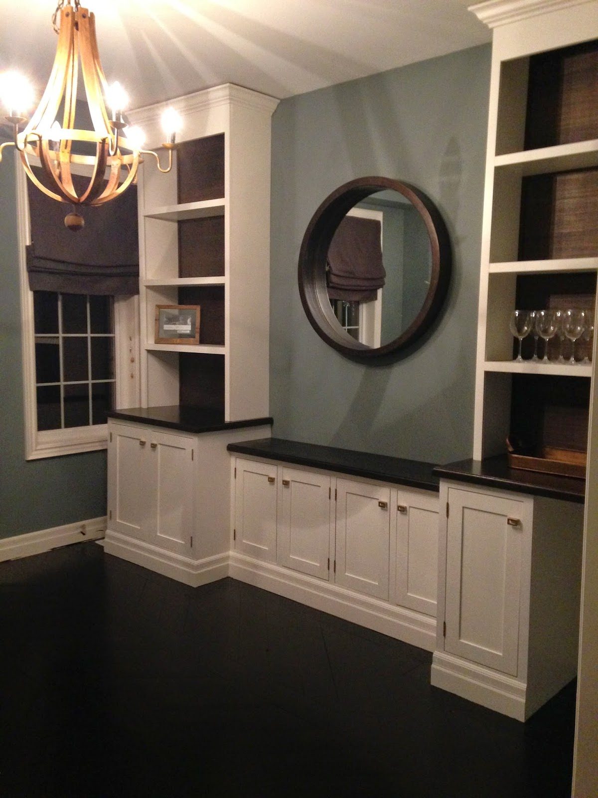 White wood dining room built ins are complete - Dining room built ins ...