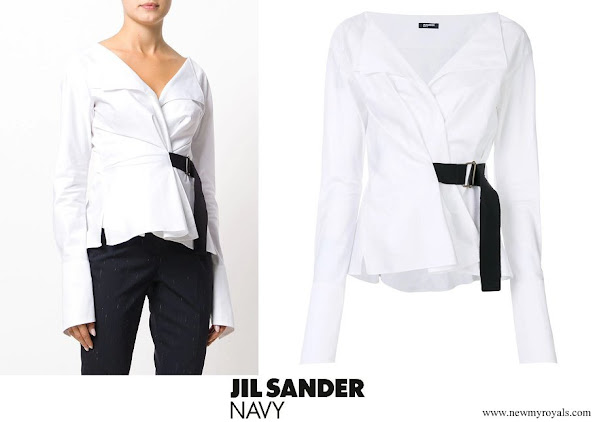 Queen Rania wore Jil Sander Navy belted blouse