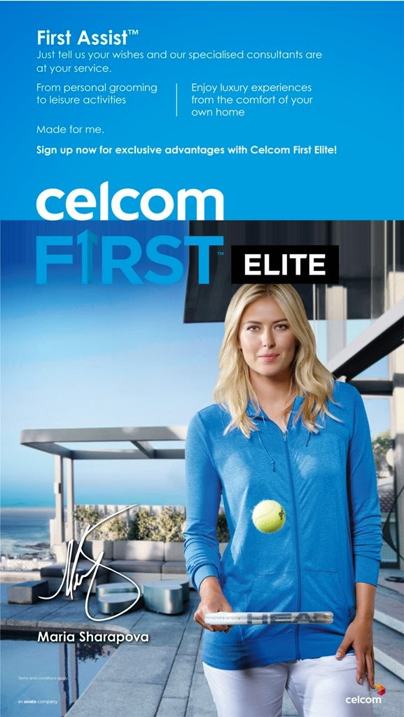 Convenience Control Made For You, Celcom First Elite, First Elite, Made For You, Maria Sharapova Ambassador Celcom First Elite, Maria Sharapova