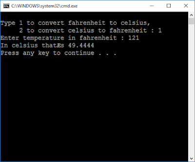 Write a temperature-conversion program that gives the user the option of converting Fahrenheit to Celsius or Celsius to Fahrenheit. Then carry out the conversion. Use floating-point numbers. Interaction with the program might look like this:  Type 1 to convert Fahrenheit to Celsius, 2 to convert Celsius to Fahrenheit: 1 Enter temperature in Fahrenheit: 70 In Celsius that's 21.111111
