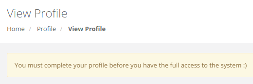 You must complete your profile to access the full BigCast platform features