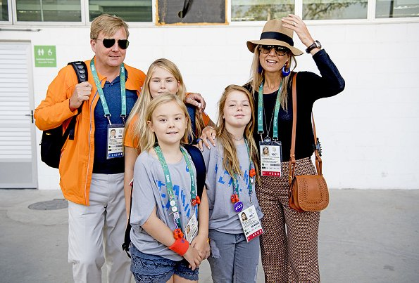 Queen Maxima,  Princess Amalia, Princess Alexia and Princess Ariane at the Olympic Equestrian Centre in Rio de Janeiro