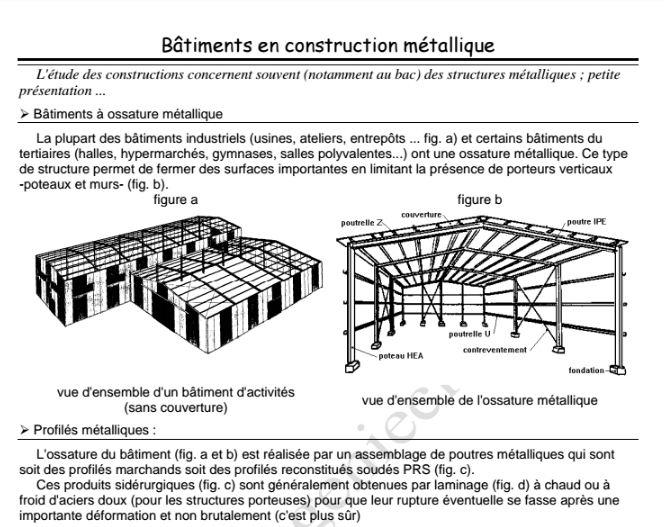 Cours b timents en construction m tallique initiation for Batiment en construction