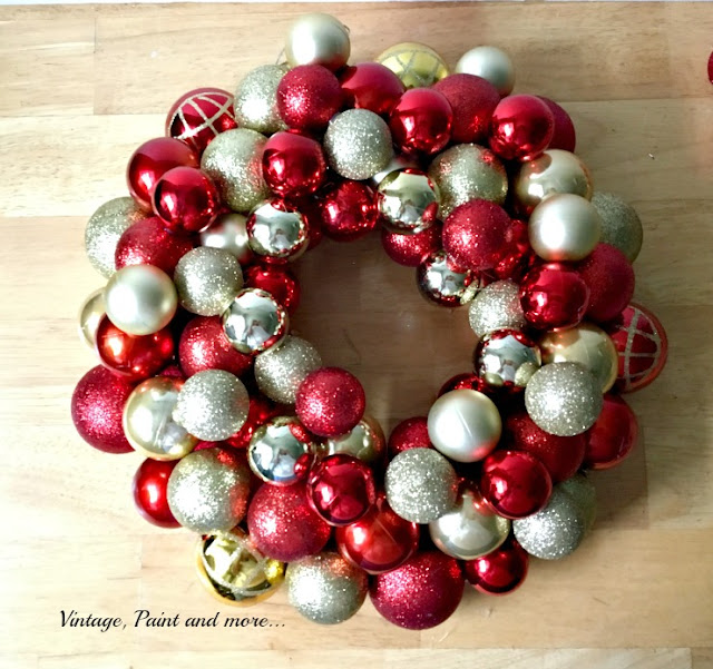Vintage, Paint and more... DIY ornament wreath made with dollar store items