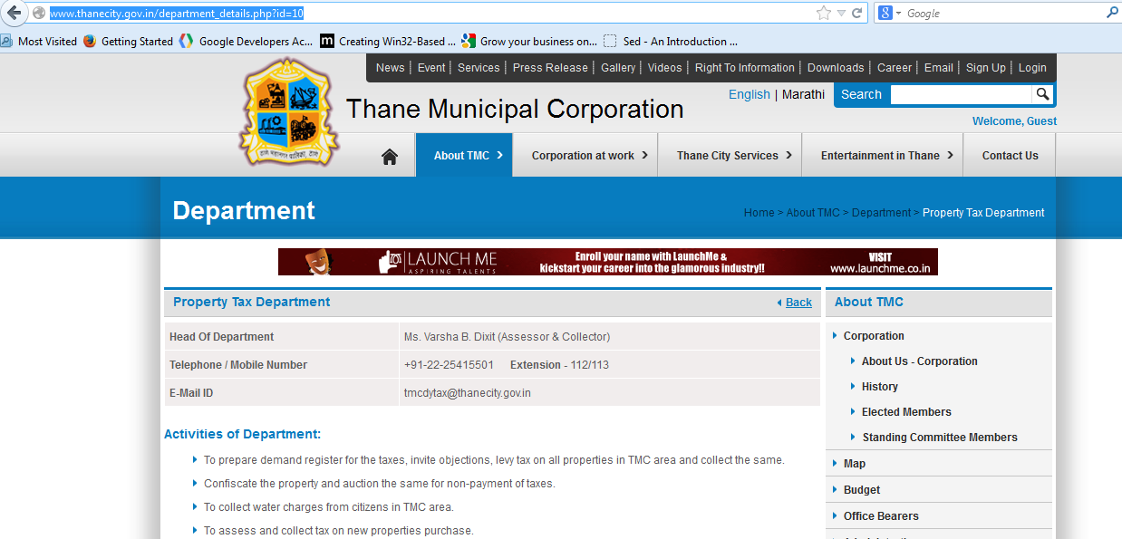 Information on Water Bill Status and Payment online: Thane