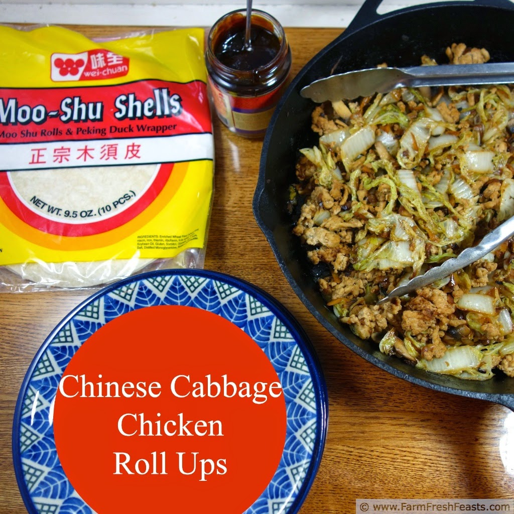 Ground chicken, Chinese cabbage, and mushrooms with hoisin sauce, rolled up Mu Shu style. This recipe can be served to vegetarians and omnivores alike because the meat is cooked separately from the vegetable filling.