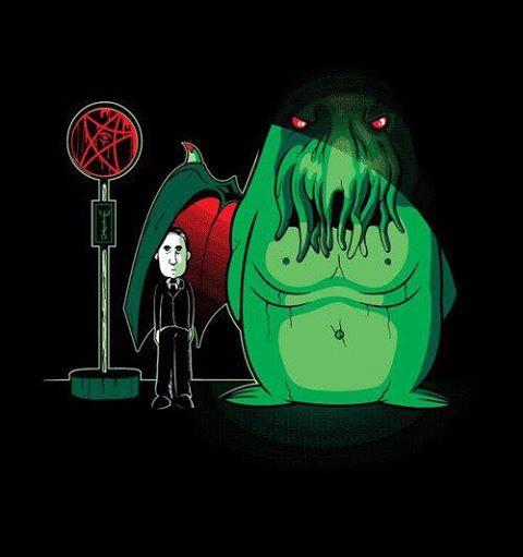 Meme de humor sobre Lovecraft y Miyazaki