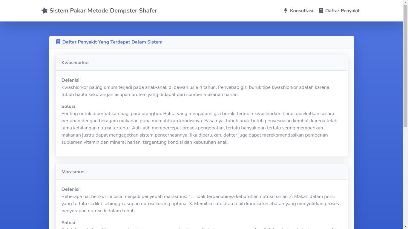Aplikasi Sistem Pakar Berbasis Web Menggunakan Metode Dempster Shafer - SourceCodeKu.com