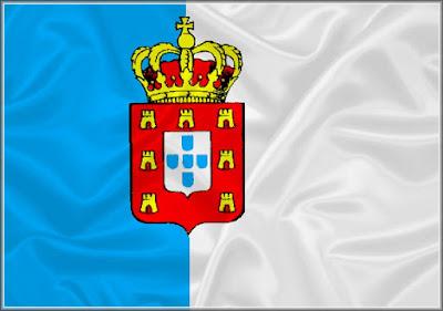 Foto da Bandeira do regime constitucional do Reino Unido Brasil-Portugal que vigorou entre 1821 e 1822
