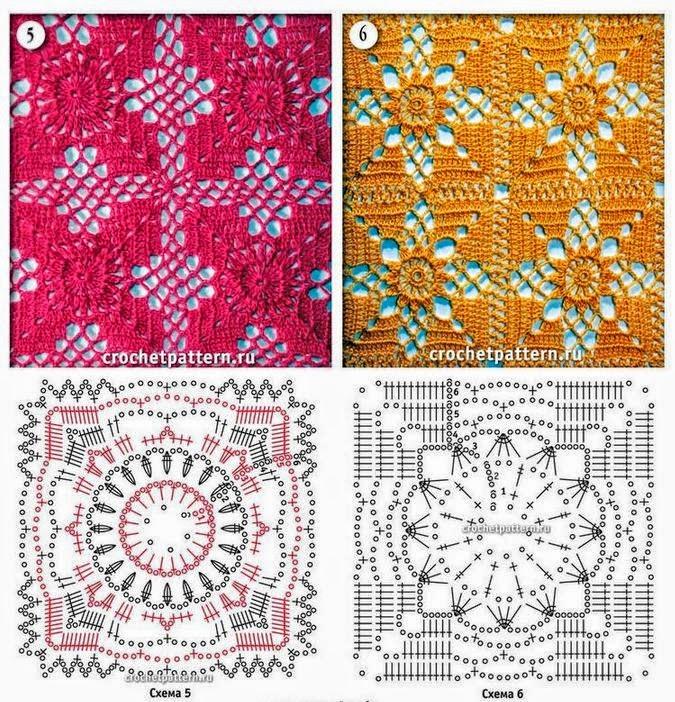 10 esquemas de grannys para tejer al crochet