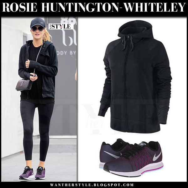 Rosie Huntington-Whiteley in black zip hoodie, black leggings and purple sneakers nike air zoom pegasus what she wore