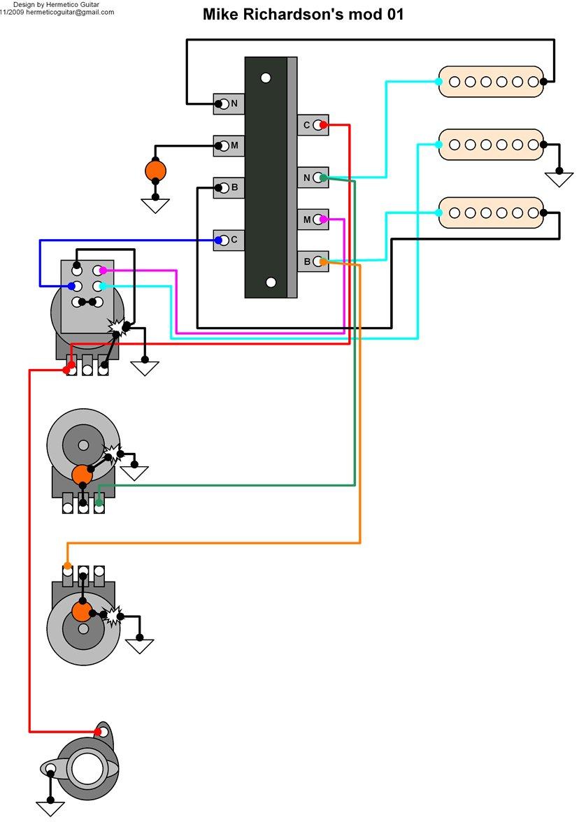 Hermetico Guitar: Wiring Diagram: Mike Richardson mod 01