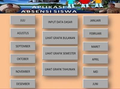 Aplikasi Absensi Siswa Plus Rekap Bulanan/Tahunan SD SMP SMA Tampilan Unik 2017,Absensi SD SMP SMA Terbaru 2017, Aplikasi Excel Absensi, File Excel Absensi Sekolah.