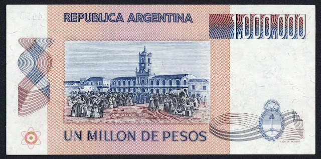 Argentina money currency 1000000 Pesos banknote 1983 May Revolution in Argentina, May 25 1810