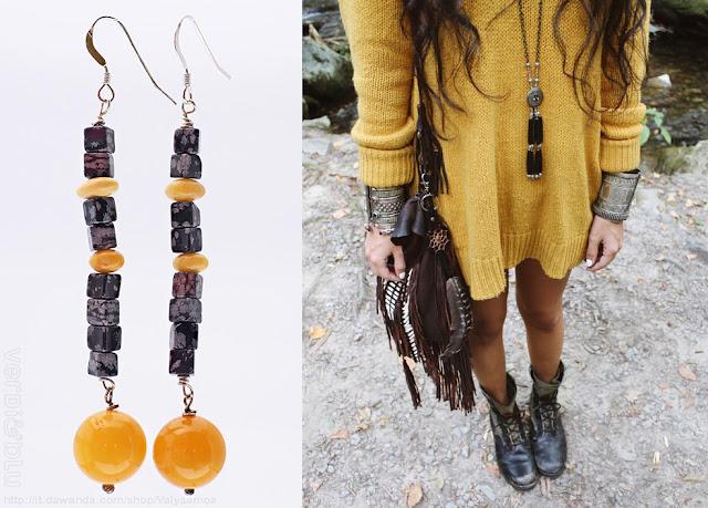 Orecchini pendenti lunghi ossidiana e ambra naturale